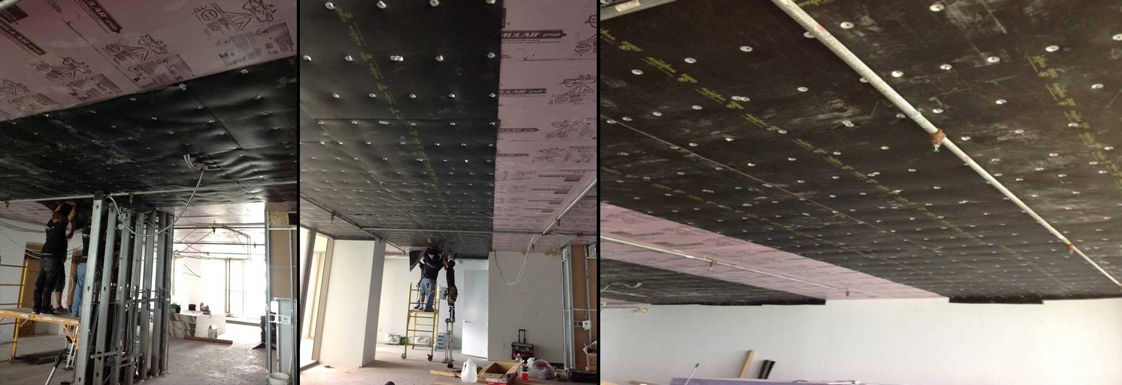 Acoustiblok 3mm Isolation Membrane Ceiling Installation